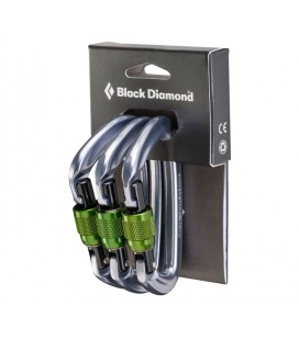 POSITRON MOSQUETONS ROSCA  3PACK - BLACK DIAMOND